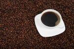 filiżanka z kawą, ziarna kawy